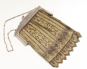 Vintage Art Deco Whiting Davis Enameled Mesh Purse 1920s Cream Black