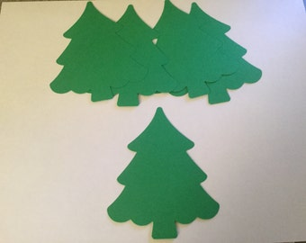 25 Christmas Tree Cut Outs, 4 inch Tree Die Cuts, Christmas Confetti,Large Tree Confetti, Christmas Party Decor, Holiday Confetti,