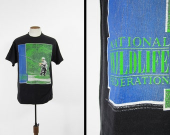 Vintage 80s NWF T-shirt National Wildlife Federation Fly Fishing Made in USA - Size XL