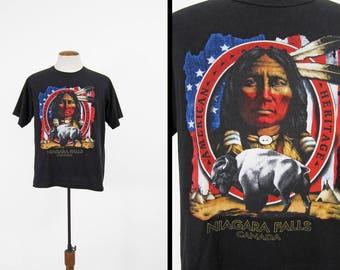 Vintage Niagara Falls Indian T-shirt Canada Black Native American - Large