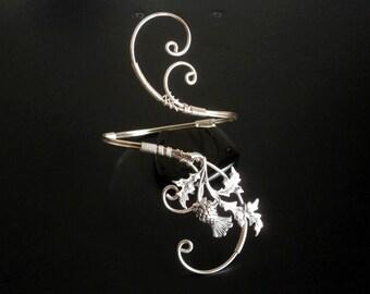 Scottish Thistle Bracelet, Cuff Bracelet, Arm cuff, Spiral Arm Band, Arm Bangle, Silver bracelet, Wire Wrapped  jewelry