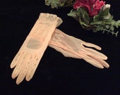 Vintage Sheer Pink Embroidered Eyelet Lace Nylon Gloves, Vinatge Pink Sheer Prom or Bridesmaid Gloves