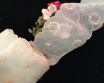 Vintage Sheer White  with Pink and Green Floral Embroidered Lace, Vintage Lace, Lingerie Lace