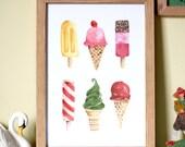 Ice Cream Print Illustrated Ice Cream Print Ice Cream Illustration