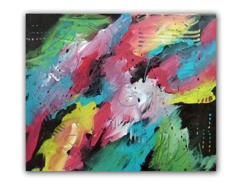 "Abstract Original Painting, 16x20 Acrylic Art, Christian Art titled ""Rejoicing"""