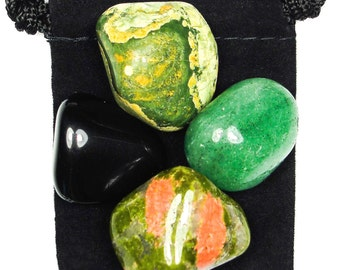 HEALING DIS-EASE Tumbled Crystal Healing Set - 4 Gemstones w/Description & Pouch - Aventurine, Obsidian, Rhyolite, Unakite