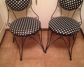 Two Vintage White and Black Polka Dot / Poke A Dot Ice Cream Parlor Wrought Iron Chairs