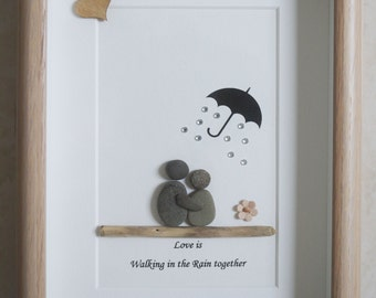 Pebble Art framed Picture- Love is walking in the Rain together