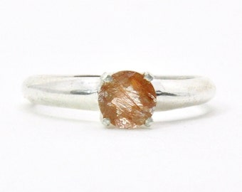 Copper Crystal Ring - Sterling Silver, Quartz Crystal, Bohemian Boho, Gift for her, California Beach Jewelry, Big Bling Cocktail