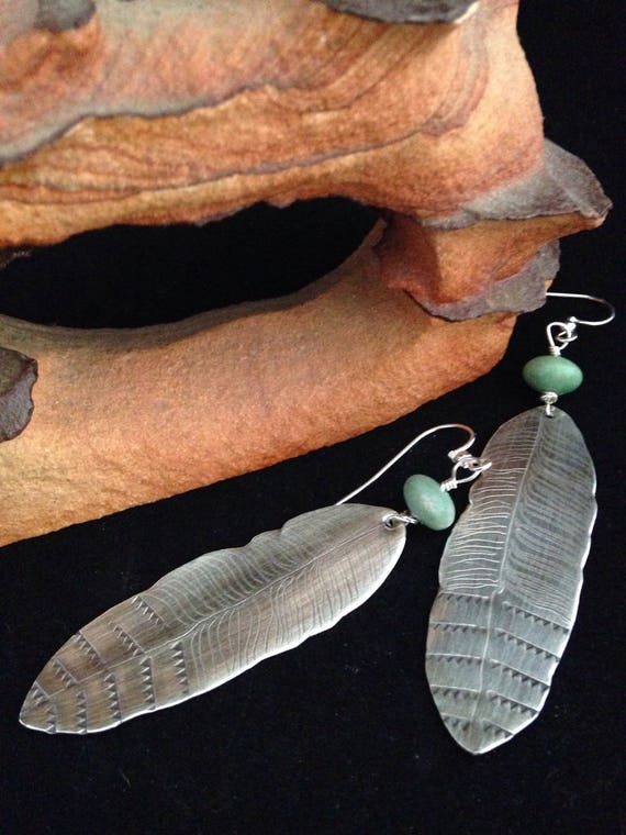 Handmade, Southwestern, Boho, Sterling Silver Feather Earrings, Utah Green Variscite Earrings