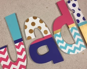 Chevron & Dots - hand painted - wooden - wall letters - nursery - decor - custom
