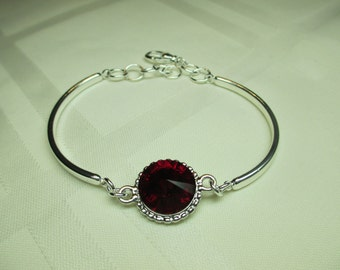 Silvery Bangle Bracelet with Ruby Red Swarovski Crystal Center