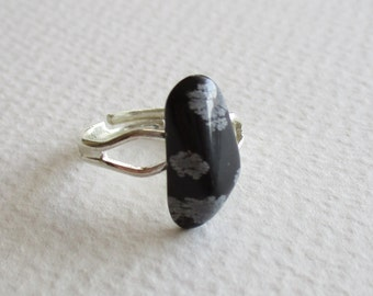 Snowflake obsidian gemstone ring
