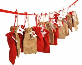 Miniblings * Advent Calender 24 pieces of Jewelry Jewellery Jute Bags German Adventskalender Germany