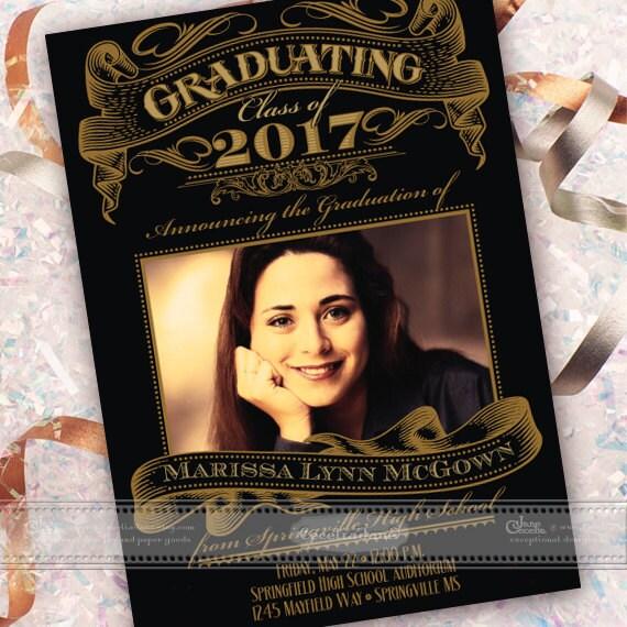 graduation announcement, graduation invitation, black and gold graduation, formal graduation announcement, class of 2017, IN548