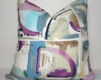Purple Blue Ivory Navy Art Deco Watercolor Pillow Cover Living Room Decor Decorate with Pillows Size 18x18