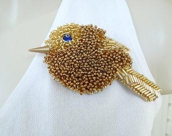 Large Gold Bird Seed Bead Art to Wear Brooch Pin OOAK INBW