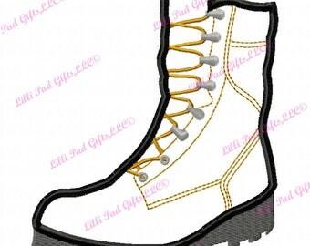 Combat Boot - Applique - Machine Embroidery Design - 5 Sizes