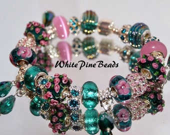 European Charm Bracelet Teal And Pink European Charm Bracelet with Murano Glass Lampwork Beads by WhitePineBeds