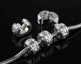 Silver Plated Stopper Clip/Lock Bead Five to Choose From  fits European  Charm Bracelets WhitePineBeads