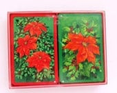 Vintage Hallmark Double Deck Christmas Playing Cards - Red Poinsettias - Holiday Poker Bridge Card Games - Card Party - Stocking Stuffer