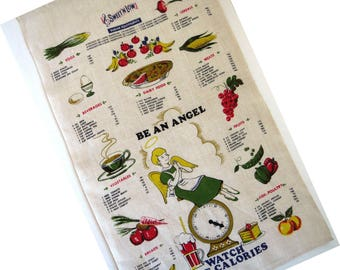 Sweet N Low Advertising Kitchen Towel - Be an Angel Watch the Calories Tea Dish Towel - Collectible - Diet Calorie Counting Gift