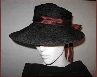 Vintage 1940s Wide Brim Black Straw Hat; Gigi New York; High Flexible Crown; Rust/Maroon Long Ribbon