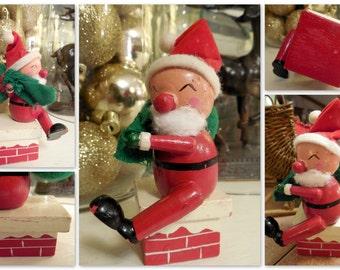 Vintage Christmas Santa, Wood Santa Climbing Down the Chimney, Vintage Christmas Decor, Retro Santa Decor, Here Comes Santa Claus, Here C...