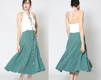 Vintage 90s Green Denim Button Down Skirt / Maxi Skirt