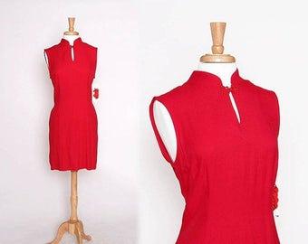 ON SALE Vintage NOS 90s Asian Inspired Red Dress / Cocktail dress / Evening Dress / Deadstock / M L