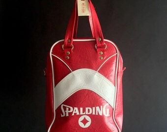 Spalding Gym Bag - Red and White Carryall - Retro Seventies Eighties