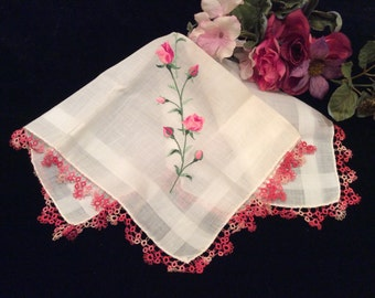 Vintage Fine Linen Handkerchief Hankie Pink Roses with Tatted Edging, Vintage Hankie, Crocheted Handkerchief, Lace Handkerchief