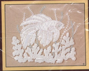TROPICAL FISH Whitework Crewel Embroidery Kit