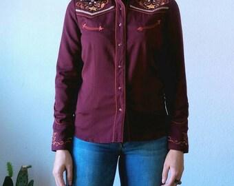 Vintage Burgundy Magenta Red Long Sleeve Embroidered Flowers Western Shirt M