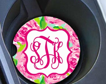 Monogram Car Coaster Set, Personalized Car Coaster, Lilly Pulitzer Inspired, Cup Holder Coasters