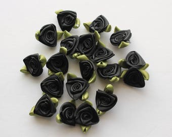 Satin Ribbon Roses - Black with Moss Green Leaves