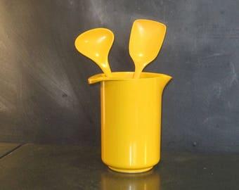Vintage Yellow Rosti Erik Lehmann Melamine Pitcher with Spoons Utensils