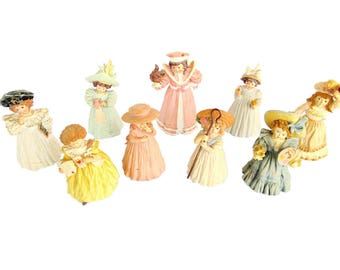 Maud Humphrey Bogart Set of 9 Figurines Limited Edition Series Southern Belle Style Instant Collection Pastel Romantic Figurines Girly