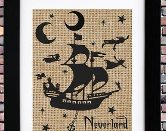 FRAMED Burlap Print | Peter Pan Nursery | Neverland Nursery Art |  Item #BP-0309