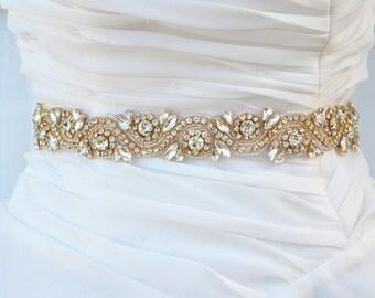 SALE GOLD Wedding Belt, Bridal Belt, Sash Belt, Crystal Rhinestones sash belt,vintage sash belt