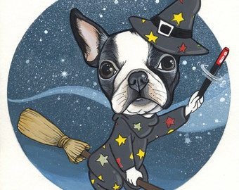 Original Boston Terrier Drawing / A4-size / framed
