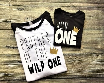 Brother of the Wild One / Wild One Raglan / Wild One Shirt / family photos, birth announcement, sibling announcement, gender reveal