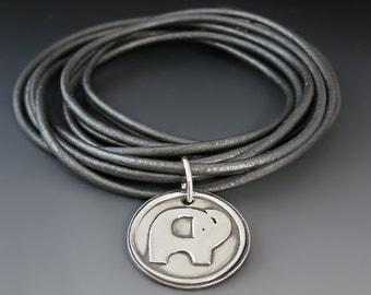 Custom Leather Wrap Bracelet / Elephant Charm / Lucky Elephant / Graduation Gift / Gifts for Her / Choker Necklace / Personalized Jewelry