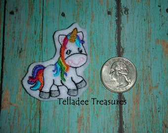 Whimsical Unicorn Feltie -Small white felt - Great for Hair Bows, Reels, Clips and Crafts - Horse Full Body