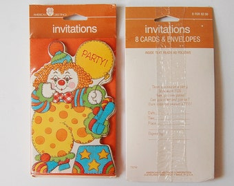 Clown Birthday Party Invitations, Vintage Kid's 1980's Clown Party Invites, Set of 16 Cards and Envelopes, American Greetings