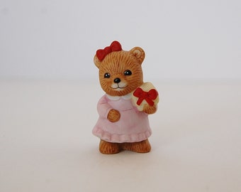 Tiny Bear Figurine, Christmas Gift, Ceramic Homco Bear