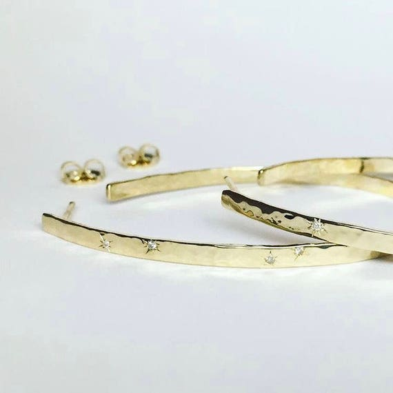 Hammered Gold and Diamond Hoops
