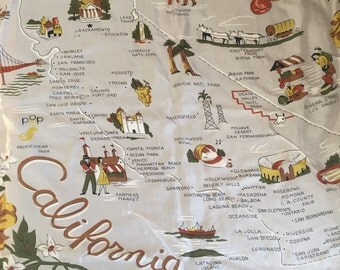 Vintage 1960's California State Scarf