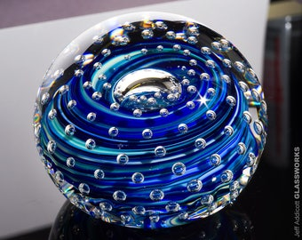 Hand Blown Glass Paperweight - Blue and Green Swirls with Bubble Grid and Lens Top - Small