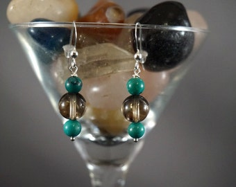 Smoky Quartz and Green Turquoise Earrings